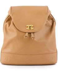 Chanel Vintage Logo Classic Backpack Nude And Neutrals