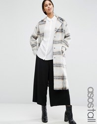 Asos Tall Wool Blend Coat In Edge To Edge Check With Roll Back Cuff Multi