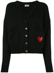 Saint Laurent Heart Embroidered Patch Cardigan Women Polyamide Mohair Virgin Wool Xs Black