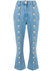 Balmain Buttoned Cropped Jeans Blue