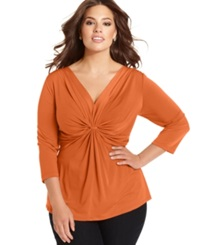 Ny Collection Plus Size Three Quarter Sleeve Twist Front Top Harvest