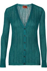 Missoni Crocheted Cotton Blend Cardigan Teal