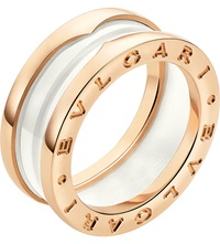 Bulgari B.Zero1 Two Band 18Ct Pink Gold And Ceramic Ring