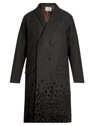 Kolor Flocked Leopard Print Wool Blend Coat Grey