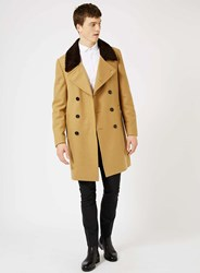 Topman Brown Noose And Monkey Camel Wool Rich Coat