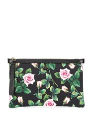 Dolce And Gabbana Rose Print Canvas Clutch 60