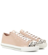 Miu Miu Crystal Embellished Patent Leather Sneakers Neutrals