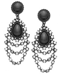 Bar Iii Jet Tone Hematite Tiered Stone Chandelier Earrings