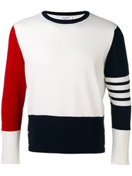 Thom Browne Color Block Sweater Men Cashmere 1 White
