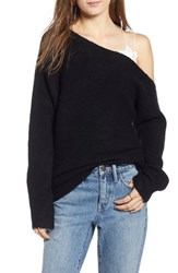 Treasure And Bond One Shoulder Ribbed Sweater Black