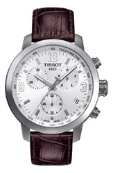 Tissot Prc200 Chronograph Leather Strap Watch 42Mm