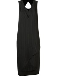 Uma Layered Pinstripe Dress Black