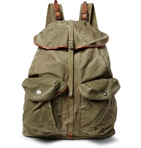 Rrl Canyon Leather Trimmed Cotton Canvas Backpack Green