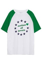 Zoe Karssen Woman Nation Of Lovers Printed Cotton And Linen Blend T Shirt Green