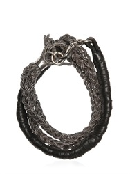 Emanuele Bicocchi Multiple Chain And Woven Leather Bracelet