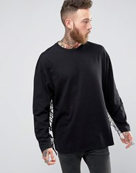Asos Oversized Long Sleeve T Shirt With Fringing Black