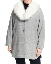T Tahari Olivia Faux Fur Plaid Coat Gray