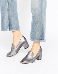 Aldo Emmaline Pewter Leather Block Heeled Loafers Pewter Silver