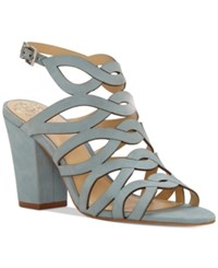 Vince Camuto Norla Strappy Block Heel Sandals Women's Shoes Sage Light Blue