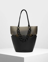 Charles And Keith Chunky Chain Tote Bag Black