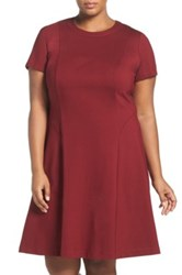 Adrianna Papell Short Sleeve Ponte Fit And Flare Dress Plus Size Red