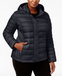 32 Degrees Plus Size Packable Puffer Coat Stormy Night