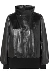 Givenchy Glossed Leather And Ribbed Wool Blend Track Top Black