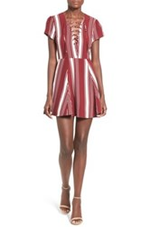 Lovers Friends Stripe Fit And Flare Dress Red