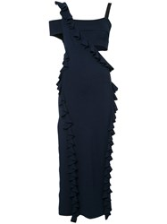 Jason Wu Cut Out Ruffle Trim Dress Blue