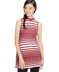 Eyeshadow Juniors' Sleeveless Striped Tunic Cardinal White