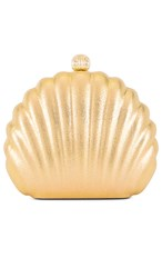 Amber Sceats Shell Clutch In Metallic Gold.