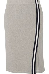 Splendid Varsity Active Striped Cotton And Modal Blend Jersey Skirt Gray