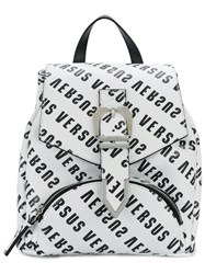 Versus Logo Print Backpack White