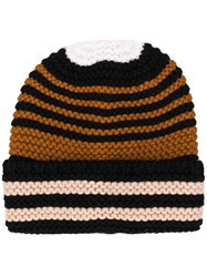 Sonia Rykiel Striped Beanie Hat Black