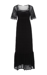 Red Valentino Square Neck Crochet Dress Black