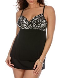 Miraclesuit Between The Pleats Camino Tankini Top Black White