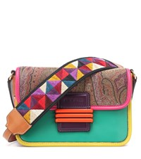 Etro Leather Trimmed Shoulder Bag Multicoloured
