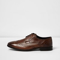 River Island Mens Tan Leather Formal Brogues