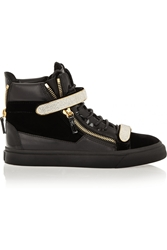 Giuseppe Zanotti Crystal Embellished Leather Patent Leather And Velvet Sneakers Black