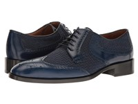 Etro Wingtip Blucher Blue Men's Lace Up Wing Tip Shoes