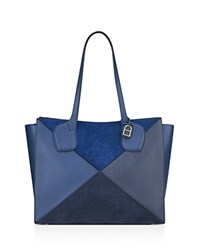 Anne Klein Julia East West Large Calf Hair And Leather Tote Blue Multi Silver