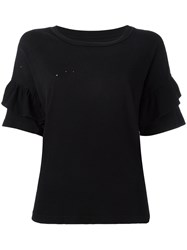 Current Elliott The Ruffle Roadie T Shirt Black