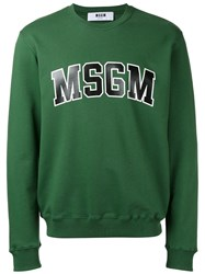 Msgm Sweatshirt With Collegiate Branding Green