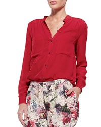 Haute Hippie Loose Long Sleeve Silk Blouse Red Rose