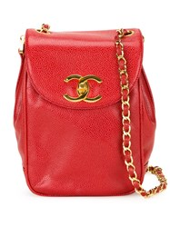 Chanel Vintage Flap Crossbody Bag Red