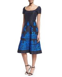 Oscar De La Renta Short Sleeve Embroidered Faille Cocktail Dress Navy