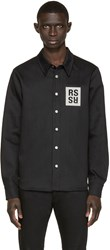 Raf Simons Black Denim Logo Patch Shirt