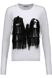 Opening Ceremony Komondor Fringed Embroidered Merino Wool Blend Sweater Off White