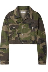 Re Done Cropped Camouflage Print Denim Jacket Green