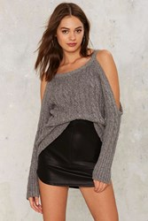 Nasty Gal Take It Away Cold Shoulder Sweater Gray